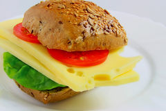 Sanduíche do queijo com tomates e alface fotografia de stock