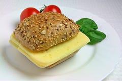 Sanduíche do queijo com tomates e manjericão Imagens de Stock