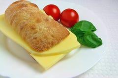 Sanduíche do queijo com tomates e manjericão Foto de Stock Royalty Free