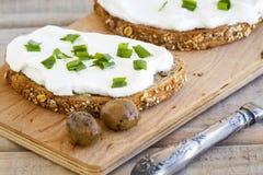 Sanduíche do queijo creme Imagens de Stock Royalty Free