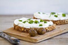 Sanduíche do queijo creme Imagem de Stock