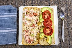 Sanduíche do rolo da lagosta com abacate e o tomate cortados Fotos de Stock Royalty Free