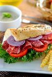 Sanduíche do salame Fotografia de Stock