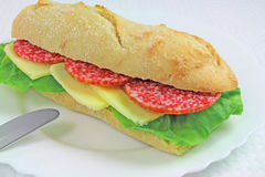 Sanduíche do salame Imagens de Stock Royalty Free