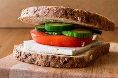 Sanduíche do vegetariano com Tofu, tomates e pepino imagem de stock royalty free
