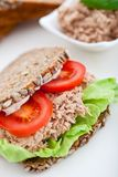 Sanduíche dos peixes de atum com tomates e alface Fotos de Stock Royalty Free