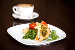 Sanduíche e café do vegetariano Fotografia de Stock Royalty Free