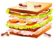 Sanduíche e formigas ilustração stock