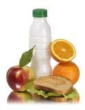 Sanduíche e laranja do leite da maçã do almoço de escola Imagens de Stock Royalty Free
