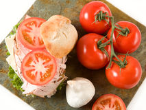 Sanduíche e vegetais de turquia Foto de Stock