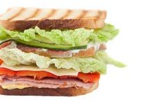 Sanduíche em um fundo branco Fotografia de Stock Royalty Free