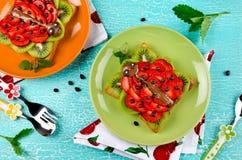 Sanduíche engraçado da cara do joaninha para o alimento de petisco das crianças Fotografia de Stock