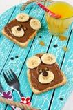 Sanduíche engraçado da cara do urso para o alimento de petisco das crianças Fotografia de Stock Royalty Free