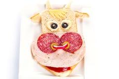 Sanduíche engraçado na forma da vaca Fotos de Stock Royalty Free