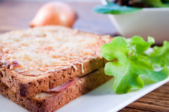 Sanduíche francês grelhado com salada Foto de Stock Royalty Free