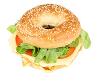 Sanduíche fresco do bagel Fotos de Stock