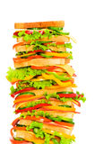 Sanduíche gigante isolado no branco Imagens de Stock Royalty Free