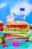 Sanduíche grande para o café da manhã da escola Fotografia de Stock