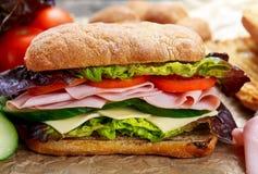 Sanduíche grelhado com alface, fatias de tomates frescos, pepino, cebola vermelha, salame, presunto e queijo Imagens de Stock