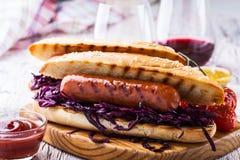 Sanduíche grelhado da salsicha com couve vermelha Fotos de Stock Royalty Free