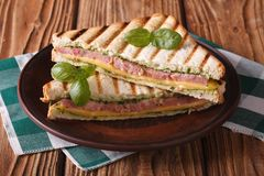 Sanduíche grelhado delicioso com presunto, queijo e manjericão foto de stock royalty free