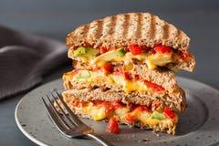 Sanduíche grelhado do queijo com abacate e tomate imagem de stock royalty free