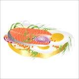 Sanduíche para o café da manhã com peixes ilustração do vetor