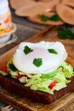 Sanduíche saboroso do ovo escalfado Ovo escalfado rápido na fatia do pão de centeio com mistura e salsa do legume fresco Alimento imagens de stock royalty free