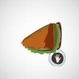 Sanduíche saboroso e suculento em uma luz Projeto do vetor Fotos de Stock