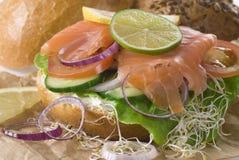 Sanduíche Salmon Fotos de Stock Royalty Free