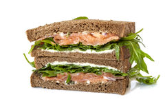 Sanduíche salmon fumado Foto de Stock Royalty Free