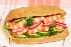 Sanduíche saudável do camarão Fotografia de Stock