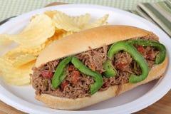 Sanduíche Shredded da carne Imagem de Stock Royalty Free