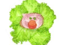 Sanduíche vegetal creativo com presunto Imagem de Stock Royalty Free