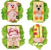 Sanduíche vegetal criativo com a salsicha da American National Standard do queijo Imagem de Stock Royalty Free