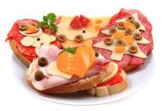Sanduíches abertos Imagem de Stock Royalty Free