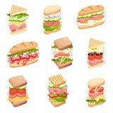 Sanduíches ajustados Em um naco, em um quadrado e em uns brindes triangulares, com enchimentos diferentes Ilustra??o do vetor ilustração stock