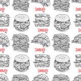 Sanduíches apetitosos sem emenda ilustração do vetor