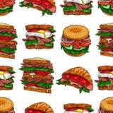 Sanduíches apetitosos sem emenda ilustração royalty free