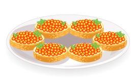 Sanduíches bonitos P?o branco com manteiga e o caviar vermelho Produto saboroso e saud?vel Decora??o festiva da tabela Vetor ilustração do vetor