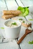 Sanduíches claros do café da manhã com salada e queijo Fotografia de Stock Royalty Free