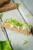 Sanduíches claros do café da manhã com salada e queijo Imagem de Stock Royalty Free