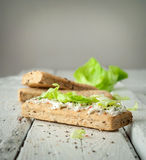 Sanduíches claros do café da manhã com salada e queijo Foto de Stock