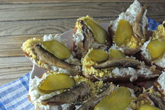 Sanduíches com arenques pequenos Foto de Stock