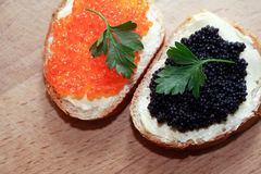 Sanduíches com caviar Foto de Stock Royalty Free