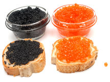 Sanduíches com caviar 4 dos peixes Foto de Stock Royalty Free