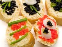 Sanduíches com caviar Fotografia de Stock