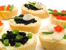 Sanduíches com caviar Fotos de Stock