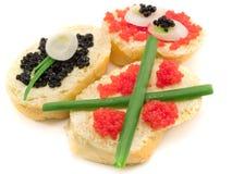 Sanduíches com caviar Imagens de Stock