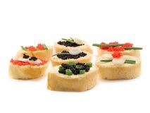 Sanduíches com caviar Foto de Stock